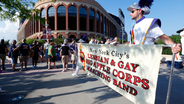 NEW YORK, NY - AUGUST 13: The New York City Lesbian and Gay Big Apple Corps Marching Band performs prior to a game between the New York Mets and the San Diego Padres at Citi Field on August 13, 2016 in the Flushing neighborhood of the Queens borough of New York City. The Mets are hosting the first ever Pride Night in New York major sports league history. (Photo by Jim McIsaac/Getty Images)